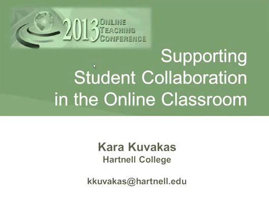 OTC13: Supporting Student Collaboration in the Online Classroom
